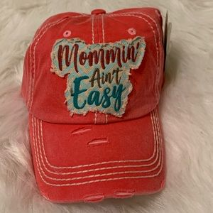 Mommin' Ain't easy embroidered hat pink distressed